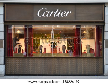 ZURICH, SWITZERLAND - DECEMBER 13, 2013 - Cartier shop, well known for its jewelery and wrist watches