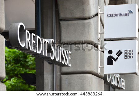 ZURICH, SWITZERLAND -- JULY 26, 2016. Successful issue for Credit Suisse Real Estate Fund LivingPlus Credit Suisse is the second-largest Swiss bank.