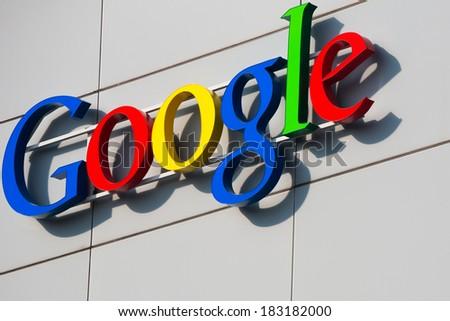 ZURICH, SWITZERLAND - MARCH  14, 2014: Google Corporation Building sign. - stock photo