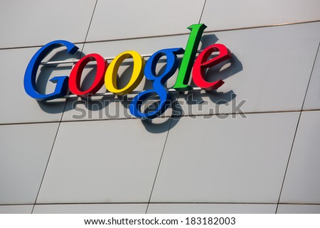 ZURICH, SWITZERLAND - MARCH  14, 2014: Google Corporation Building sign.