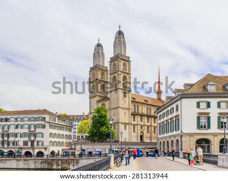 ZURICH, SWITZERLAND - MAY 14 2015: Innercity of Zurich, Switzerland. Old Town