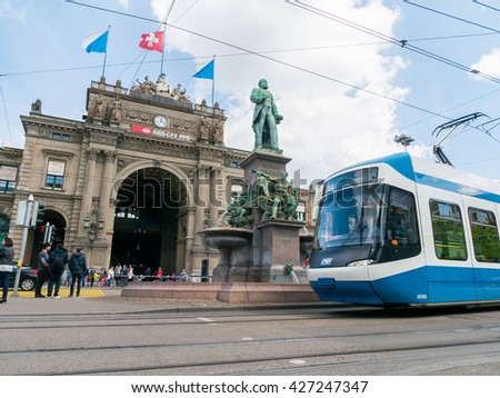 Zurich, Switzerland - May 2016 : Zurich Central Station is the largest railway station in Switzerland. Serving up to 2,915 trains a day, the station is one of the busiest railway stations in the world