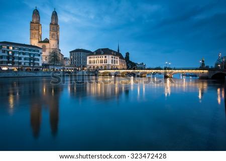 Zurich, Switzerland - nightview with Grossmunster church - stock photo