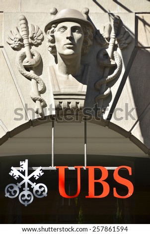 ZURICH, SWITZERLAND - NOVEMBER 1, 2012: UBS, Switzerland's largest bank. Swiss bank UBS to cut 10 000 jobs as it ends some trading operations, trims investment banking - stock photo