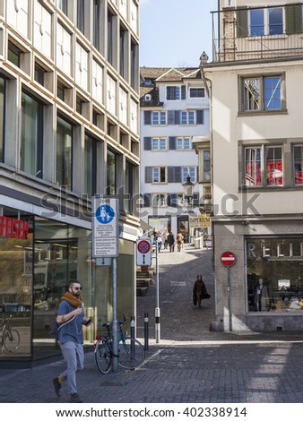 ZURICH, SWITZERLAND, on MARCH 26, 2016. Typical urban view in the spring morning