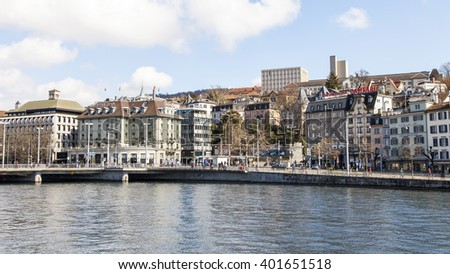 ZURICH, SWITZERLAND, on MARCH 26, 2016. Typical urban view in the spring morning. Architectural complex of the embankment