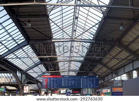 Zurich, Switzerland - 8 September, 2014: departure board of the Zurich Main railway station. Zurich is the largest city in Switzerland and the capital of the Canton of Zurich.