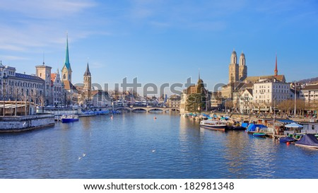 Zurich, Switzerland - the Limmat River. High dynamic range (HDR) with tone mapping. - stock photo