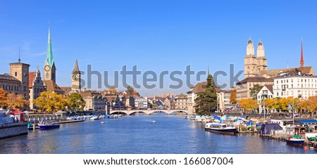 Zurich, Switzerland - view along the Limmat river in autumn. - stock photo