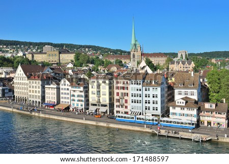Zurich, Switzerland. View of the evening Zurich and the Limmat River from  Lindenhof hill