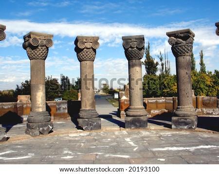 Zvartnots temple ,armenia - stock photo
