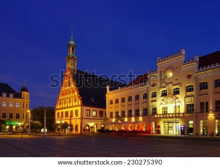 Zwickau townhall night  - stock photo