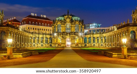 Zwinger at night in Dresden, Saxony, eastern Germany