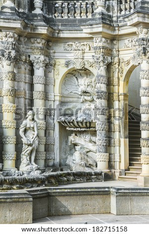 Zwinger is a palace in Dresden, eastern Germany, built in Rococo style in 17th century. Designed by court architect Matthaus Daniel Poppelmann. Details of Nymphenbad (Nymph Bath). - stock photo