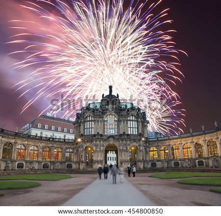 Zwinger Palace (Der Dresdner Zwinger) and holiday fireworks, Dresden, Germany