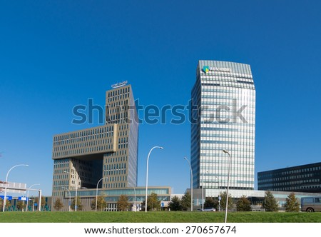ZWOLLE, NETHERLANDS - NOVEMBER 1, 2014: Modern office building exteriors. Zwolle is the capital of the dutch province Overijssel - stock photo