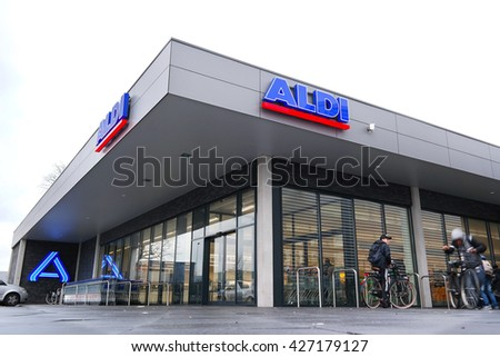 ZWOLLE, THE NETHERLANDS - JANUARY 27, 2016: A new restyled ALDI discount Supermarket, in the new house style of Aldi Nord. Aldi is a leading global discount supermarket chain with over 9,000 stores.