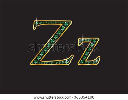 Zz in stunning emerald precious round jewels set into a 2-level gold gradient channel setting, isolated on black. High-resolution raster JPEG version.  - stock photo