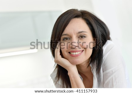 Portrait Smiling Mature Darkhaired Woman Stock Pto 14 ...