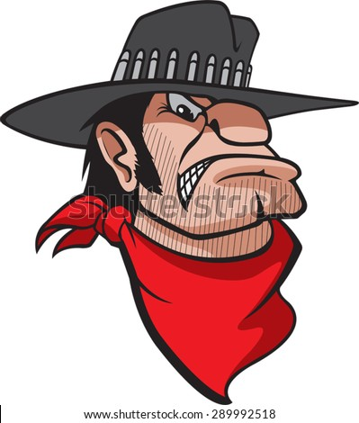 A cartoon Bust of a mean looking Cowboy. Bad Bart  - stock vector