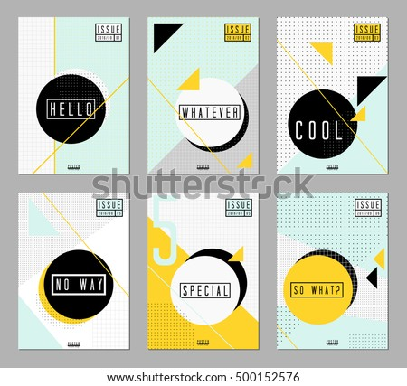 A collection of six abstract geometric designs in black white light blue and yellow
