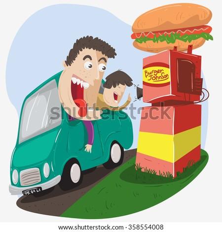 a family on car pass the breakthrough to order burger - stock vector