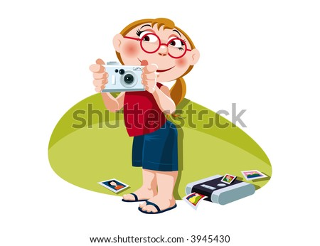 A little girl takes a picture with digital camera. Vector.