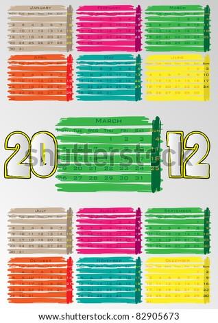 2012 A3 paint calendar for 12 months.March. - stock vector