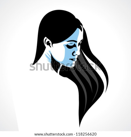 a portrait of the beautiful young girl - stock vector