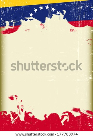 A poster with a large scratched frame and a grungeVenezuelan flag  - stock vector