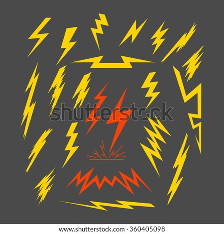 89 A set of electric lightning. Isolated vector illustration. Templates of graphic  elements for vintage logos, label and design vintage and stylish badges to print on t-shirts. - stock vector