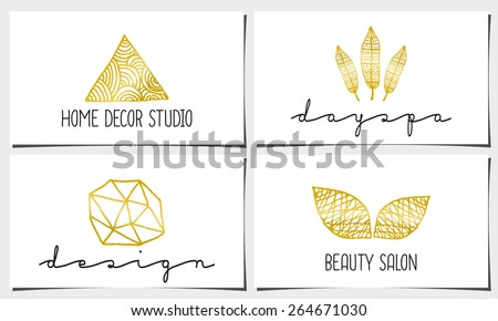 A set of four modern and elegant business card templates in white, gold and black. Hand drawn golden design elements, feathers, leaves, triangle, geometric shapes. - stock vector