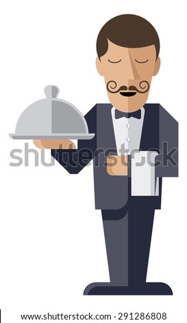 A welcoming stylised waiter character holding a serving platter or silver cloche  - stock vector