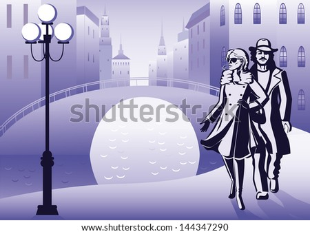 A young couple is walking in the early morning in a big city on the background channel, bridge and high-rise buildings. - stock vector