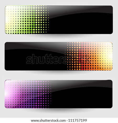 3 Abstract Black Banners, Isolated On Grey Background, Vector Illustration