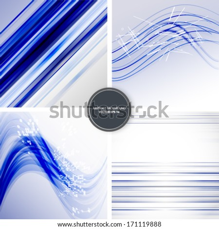 4 abstract blue background, business vector illustration eps10. Blue lines texture.