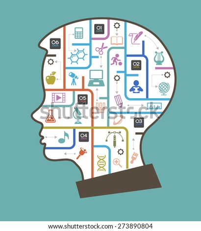 Abstract child head and education icons. The generation of knowledge. File is saved in AI10 EPS version. This illustration contains a transparency  - stock vector