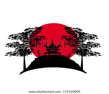 abstract Chinese landscape - stock vector