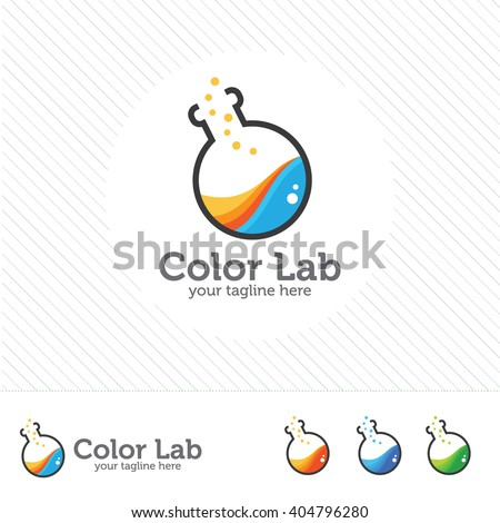 Abstract color lab logo . vector laboratory, chemical, medical test logo, icon.Colorful modern design with bulbs and bottles. - stock vector