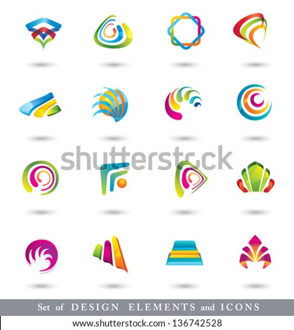 Abstract Design Elements .  Collection with icons for abstract logo.  - stock vector