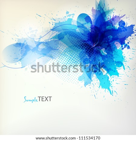 abstract flower with blue blots. Vector design - stock vector