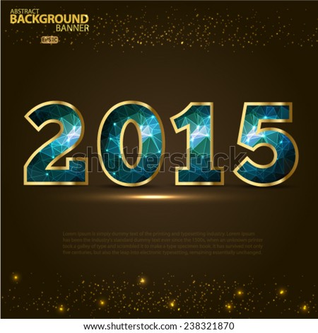 2015 Abstract Golden Holiday Background bokeh effect.. Vector EPS 10 illustration. - stock vector