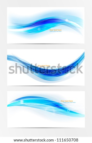 Abstract header blue wave vector set - stock vector