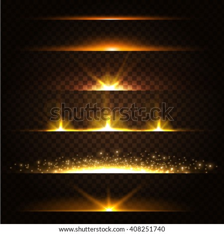 Abstract Lens Flares Collection. Glowing stars. Lights and Sparkles on Transparent Background.  Shining borders. Vector Illustration. - stock vector