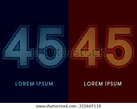 45 ,abstract luxury font, Designed using cool and hot colors, line square, geometric shape, graphic vector. - stock vector