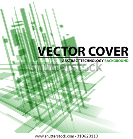 Abstract modern cover with text and heading. Technology or business or science green background. Digital design, transparent geometric shapes. Futuristic style. Vector version - stock vector