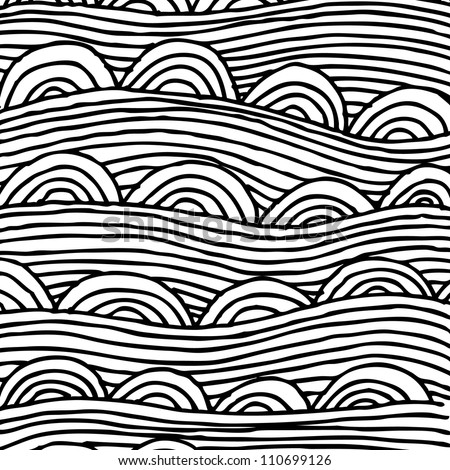 abstract seamless pattern with stripes and half-circles, seamless abstract hand-drawn pattern, waves background