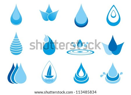 Abstract symbols  of a drop water. Vector. EPS-10 (non transparent elements) - stock vector