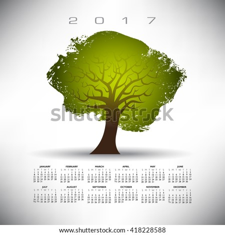 2017 Abstract tree calendar on a gray background  - stock vector