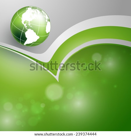 abstract vector background with wavy lines and globe. Eps10 - stock vector